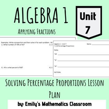 Solving Percentage Proportions Lesson Plan