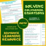 Solving Polynomial Equations Algebra 2 Lesson + Worksheet