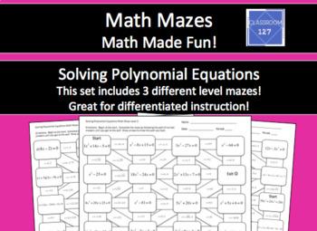 Solving Polynomial Equations Math Maze