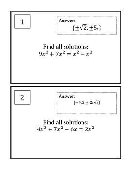 Solving Polynomial Equations Scavenger Hunt