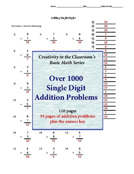 Addition - Single Digit - Over 1000 addition problems!