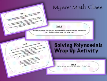 Solving Polynomials - Task Cards Wrap Up Activity
