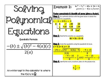Solving Polynomials & Writing Intercepts as Polynomial Equations Graphic Organiz