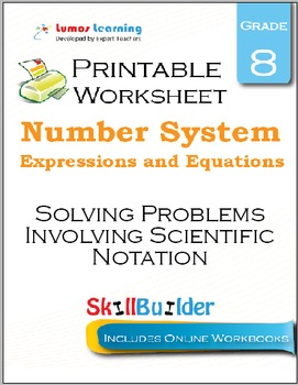 Solving Problems Involving Scientific Notation Printable Worksheet, Grade 8