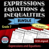 Solving Problems Using Expressions, Equations, and Inequalities Worksheet Bundle