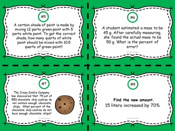 Solving Problems Using Proportions Task Cards: 7.RP.3