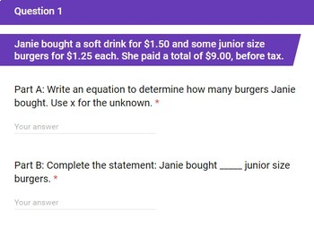 Solving Problems with Equations and Inequalities Google Forms Assessment