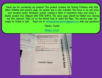 Solving Problems with Unit Rates Foldable and Practice for 6th Grade Math