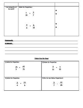 Solving Proportions (7.RP.2;7.RP.2a; Mathematical Practices:1,3,4)