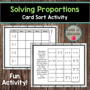Solving Proportions Card Sort Activity