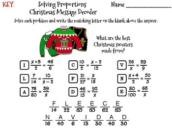 Solving Proportions Christmas Math Activity: Message Decoder