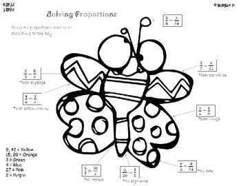 Solving Proportions Coloring- 6.RP.3d, 7.RP.2c