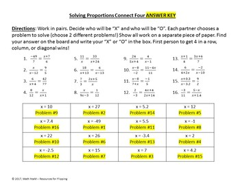 Solving Proportions Connect Four