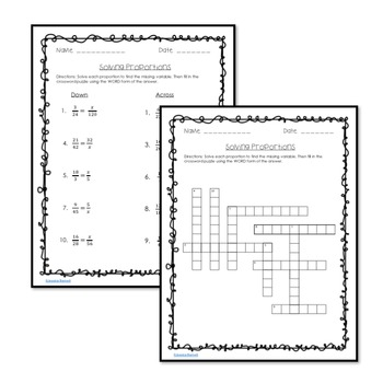 Solving Proportions Crossword Puzzle Activity
