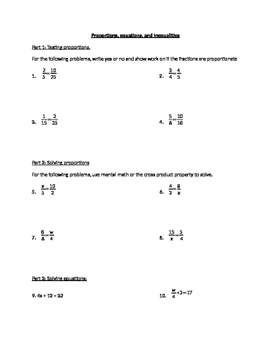 Solving Proportions, Equations, and Inequalities