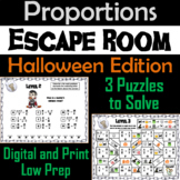Solving Proportions Game: Escape Room Halloween Math Activity