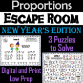 Solving Proportions Game: Escape Room New Year's Math Activity