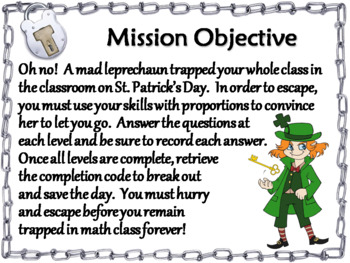 Solving Proportions Game: Escape Room St. Patrick's Day Math Activity
