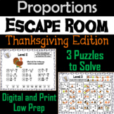 Solving Proportions Game: Escape Room Thanksgiving Math Activity