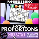 Solving Proportions Interactive Bingo Review Game - Distance Learning