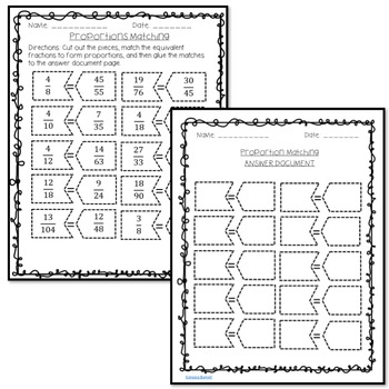 Solving Proportions Matching Activity