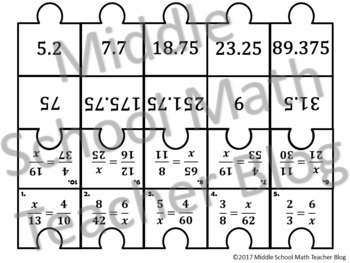 Solving Proportions Matching Activity - Digital & Paper Copy