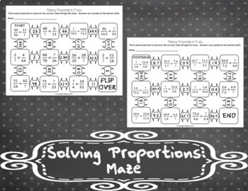 Solving Proportions Maze By Jstalling Teachers Pay Teachers
