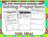 Solving Proportions Interactive Math Notebook