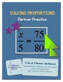 Solving Proportions - Partner Practice Worksheet