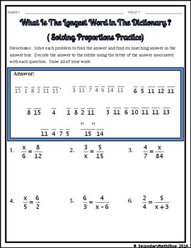Solving Proportions Practice Riddle Worksheet by Secondary Math Shop