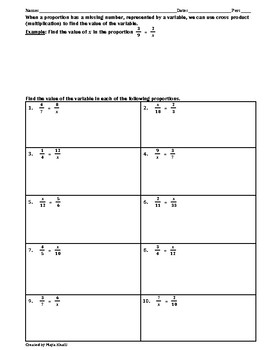 Solving Proportions Practice Worksheet