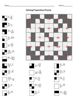 Solving Proportions Puzzle - 7.RP.2