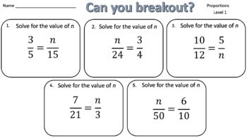Solving Proportions – Two Breakout Activities!