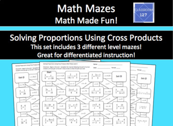 Solving Proportions Using Cross Products Math Maze
