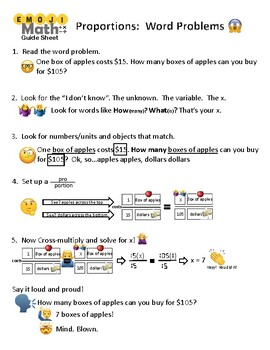 Solving Proportions Word Problems Guide Sheet and Practice