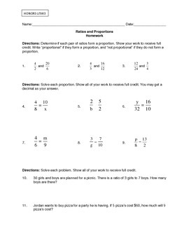Solving Proportions Worksheet