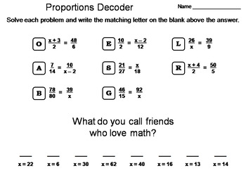 Solving Proportions Worksheet: Math Message Decoder by Science Spot