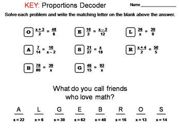 Solving Proportions Worksheet: Math Message Decoder