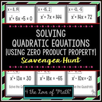 Solving Quadratic Equations Scavenger Hunt