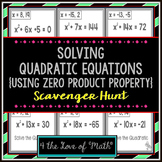 Solving Quadratic Equations Scavenger Hunt