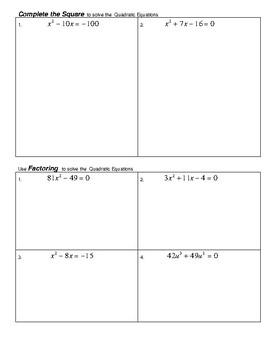Solving Quadratic Equation 4 methods Review