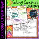 Solving Quadratic Equation Doodle Organizer; Algebra 1