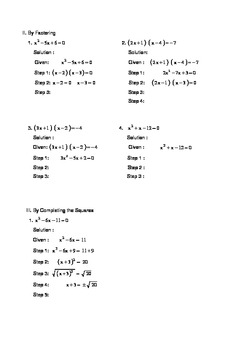 Solving Quadratic Equation Step-by-Step activity worksheet