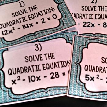 Solving Quadratic Equation Task Cards