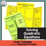 Solving Quadratic Equations Math Foldable