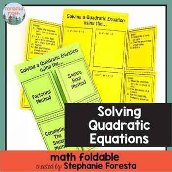 Solving Quadratic Equations Math Foldable