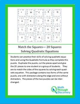 Match the Squares Puzzle - Solving Quadratic Equations 20 cards