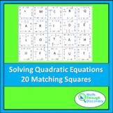 Match the Squares Puzzle - Solving Quadratic Equations 20 cards