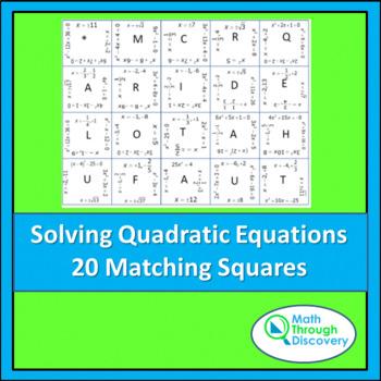 Algebra:  Match the Squares Puzzle - Solving Quadratic Equ