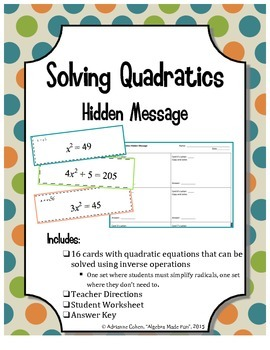 Solving Quadratic Equations - A Hidden Message Card Activity